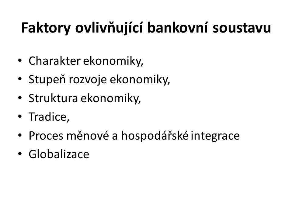 Faktory ovlivňující bankovní soustavu Charakter ekonomiky, Stupeň rozvoje ekonomiky, Struktura ekonomiky, Tradice, Proces měnové a hospodářské integrace Globalizace