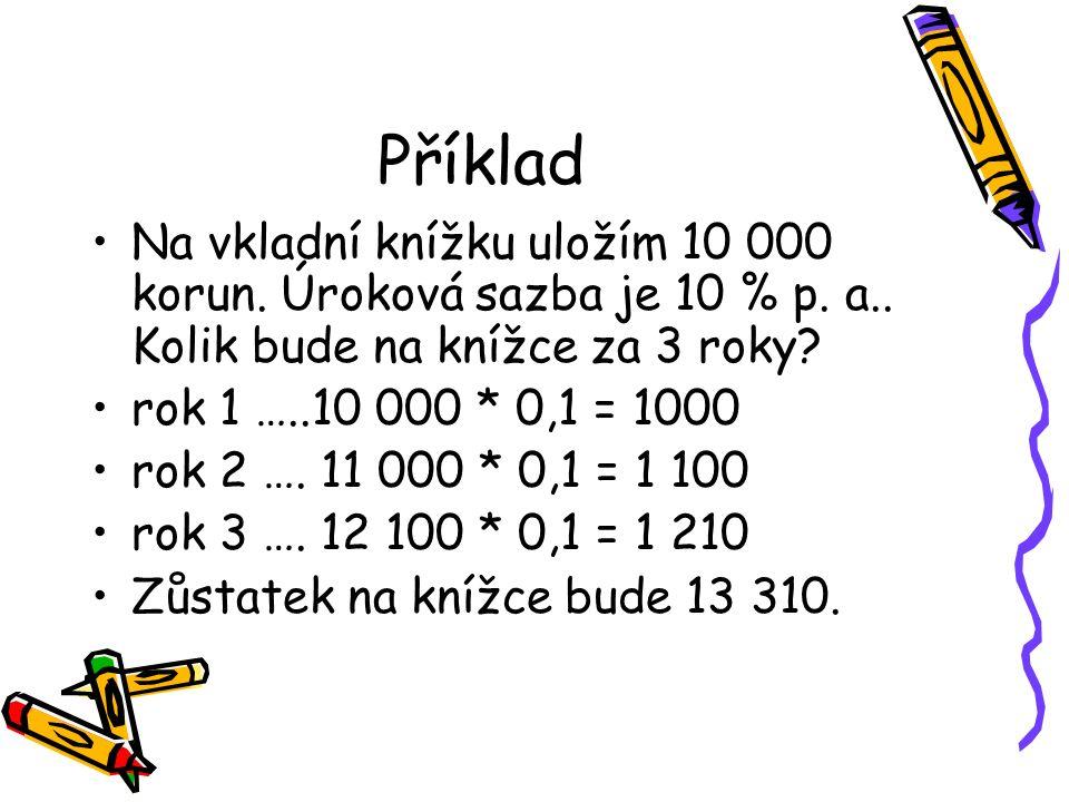 Příklad Na vkladní knížku uložím 10 000 korun. Úroková sazba je 10 % p.