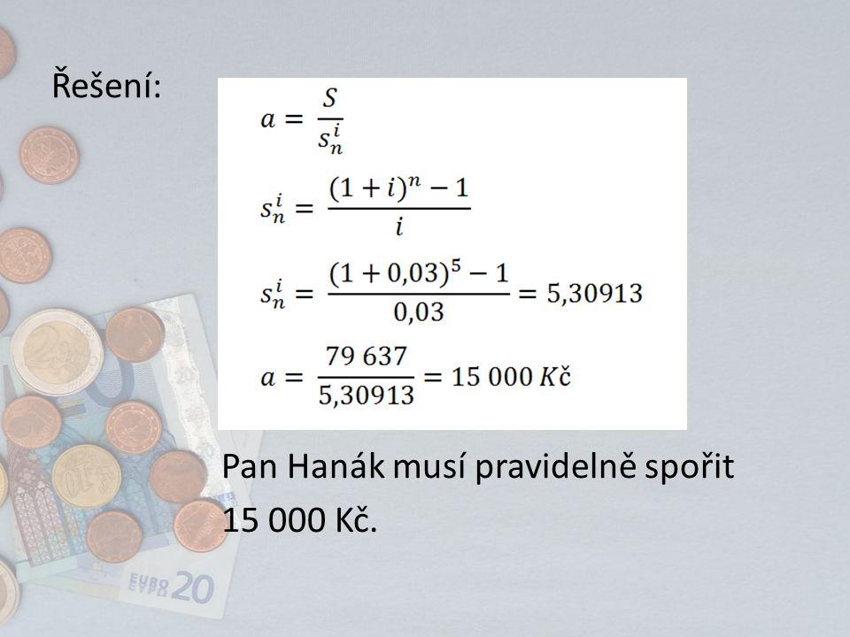 Řešení: Pan Hanák musí pravidelně spořit 15 000 Kč.