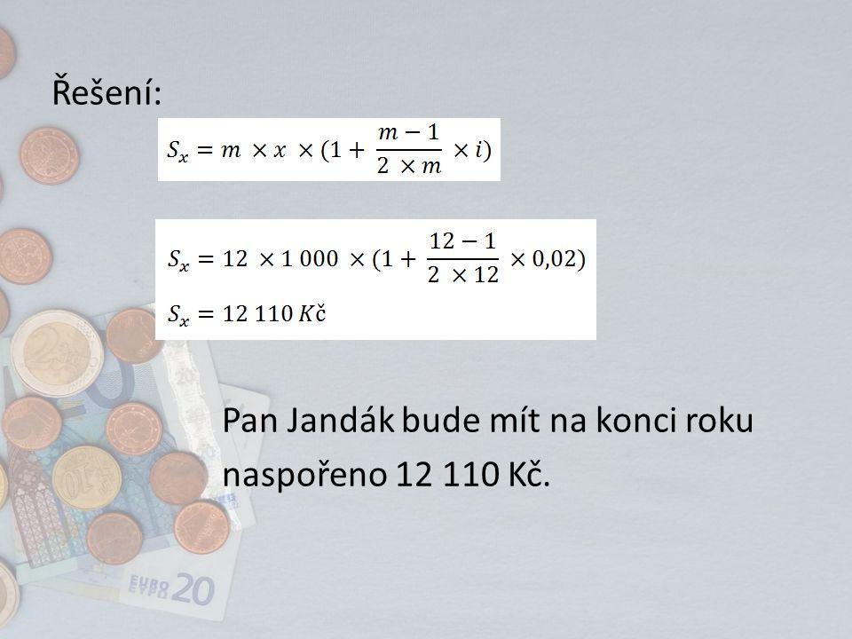 Příklad 2 Pan Hasík chce mít naspořeno na konci roku částku ve výši 8 090 Kč.