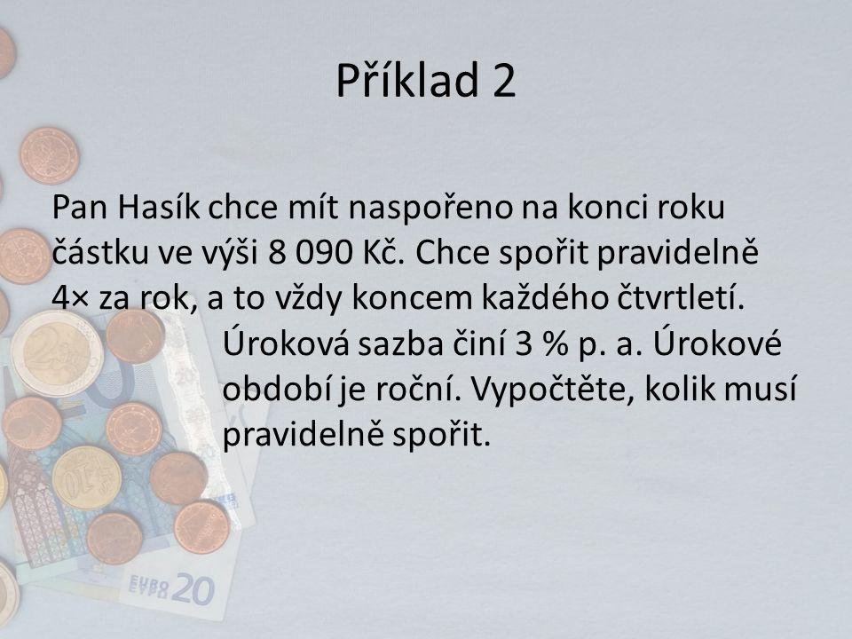 Řešení: Pan Hasík musí pravidelně spořit 2 000 Kč.