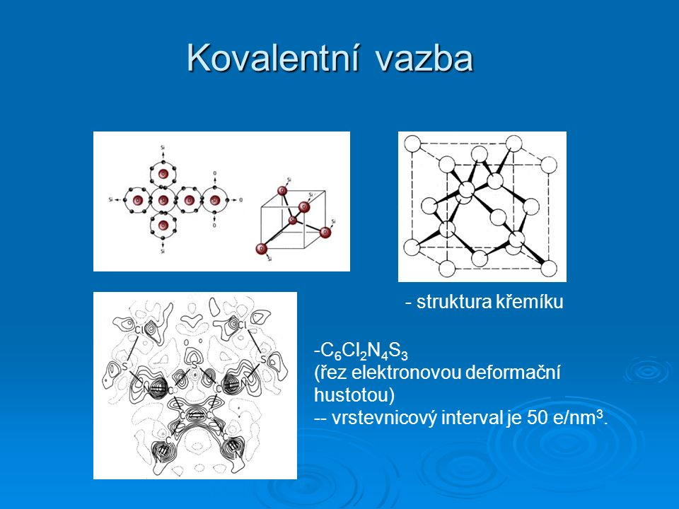 Kovalentní vazba -C 6 Cl 2 N 4 S 3 (řez elektronovou deformační hustotou) -- vrstevnicový interval je 50 e/nm 3.