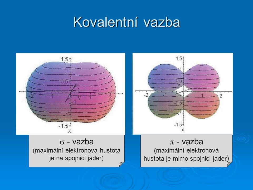 Kovalentní vazba  - vazba (maximální elektronová hustota je na spojnici jader)  - vazba (maximální elektronová hustota je mimo spojnici jader )