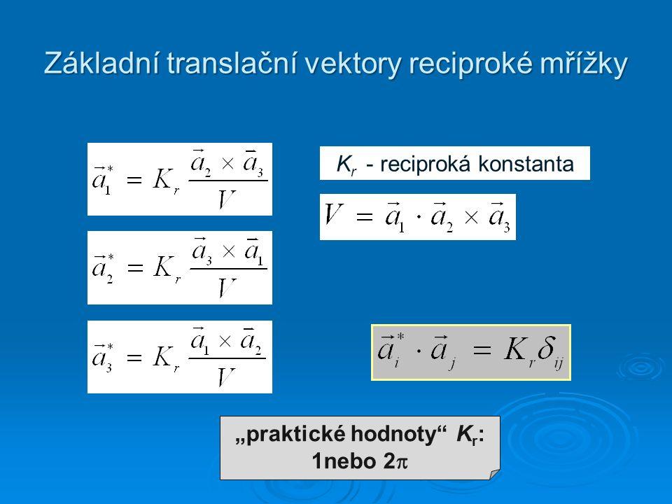 """Základní translační vektory reciproké mřížky K r - reciproká konstanta """"praktické hodnoty K r : 1nebo 2 """