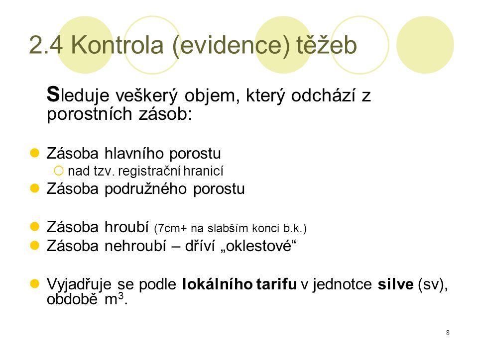 8 2.4 Kontrola (evidence) těžeb S leduje veškerý objem, který odchází z porostních zásob: Zásoba hlavního porostu  nad tzv.