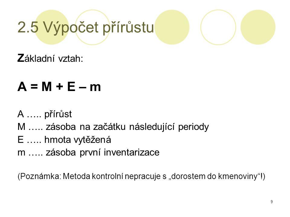 9 2.5 Výpočet přírůstu Z ákladní vztah: A = M + E – m A …..