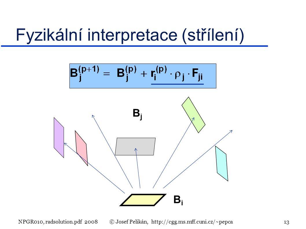 NPGR010, radsolution.pdf 2008© Josef Pelikán, http://cgg.ms.mff.cuni.cz/~pepca 13 Fyzikální interpretace (střílení) BiBi BjBj