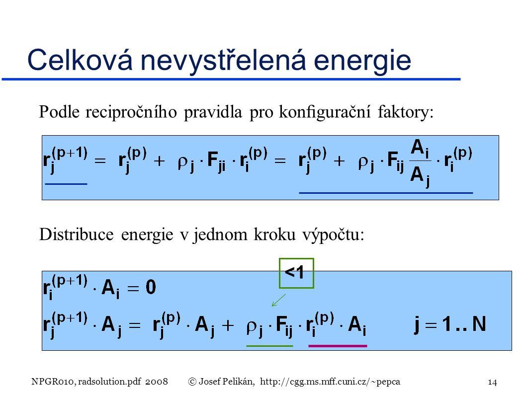 NPGR010, radsolution.pdf 2008© Josef Pelikán, http://cgg.ms.mff.cuni.cz/~pepca 14 Celková nevystřelená energie Podle recipročního pravidla pro kongurační faktory: Distribuce energie v jednom kroku výpočtu: <1