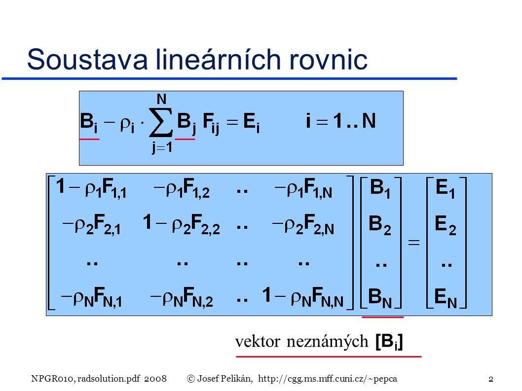 NPGR010, radsolution.pdf 2008© Josef Pelikán, http://cgg.ms.mff.cuni.cz/~pepca 2 Soustava lineárních rovnic vektor neznámých [B i ]