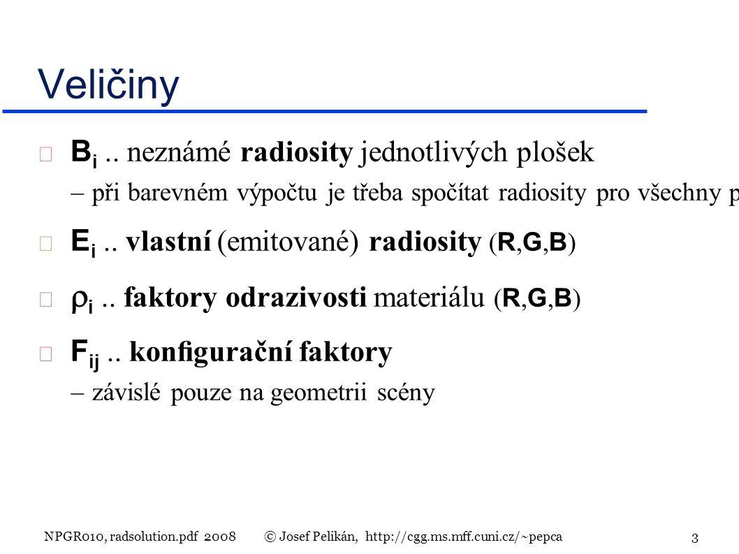 NPGR010, radsolution.pdf 2008© Josef Pelikán, http://cgg.ms.mff.cuni.cz/~pepca 3 Veličiny  B i..