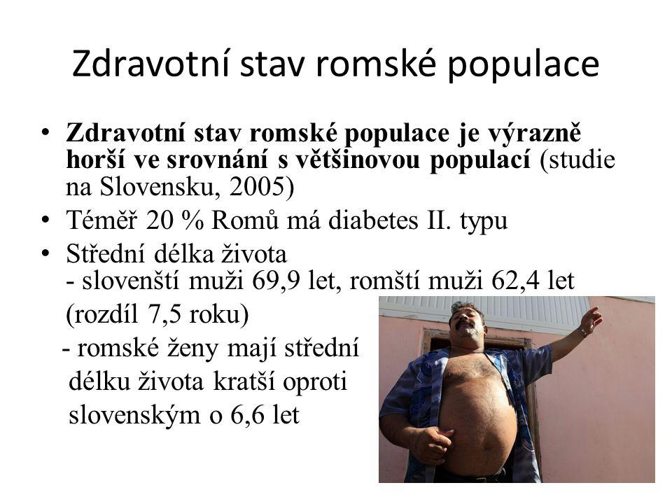 Zdravotní stav romské populace Zdravotní stav romské populace je výrazně horší ve srovnání s většinovou populací (studie na Slovensku, 2005) Téměř 20 % Romů má diabetes II.