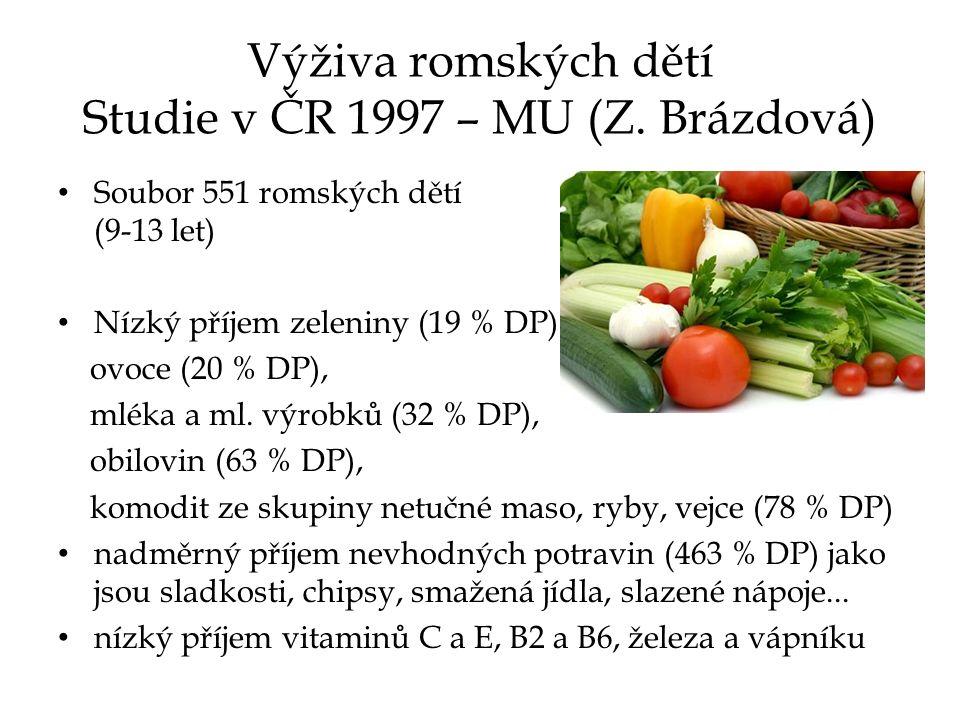Výživa romských dětí Studie v ČR 1997 – MU (Z.