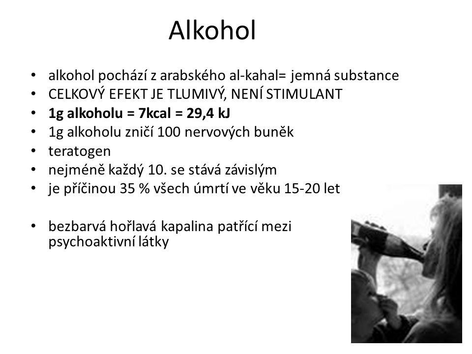 Alkohol alkohol pochází z arabského al-kahal= jemná substance CELKOVÝ EFEKT JE TLUMIVÝ, NENÍ STIMULANT 1g alkoholu = 7kcal = 29,4 kJ 1g alkoholu zničí 100 nervových buněk teratogen nejméně každý 10.