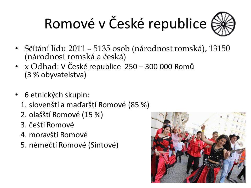 Romové v České republice Sčítání lidu 2011 – 5135 osob (národnost romská), 13150 (národnost romská a česká) x Odhad: V České republice 250 – 300 000 Romů (3 % obyvatelstva) 6 etnických skupin: 1.