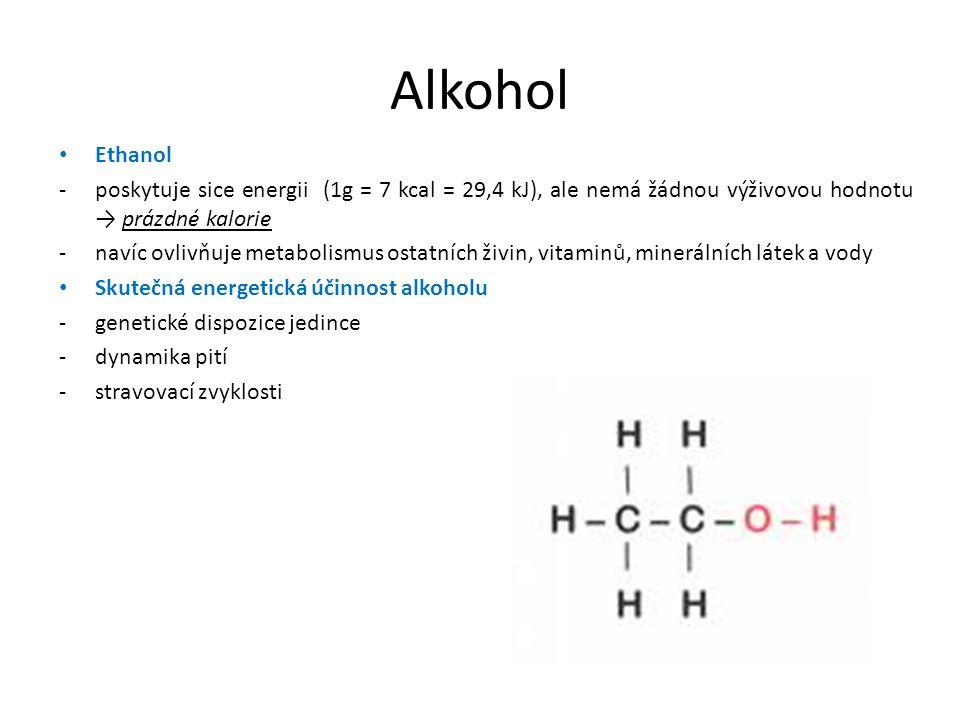 Alkohol Ethanol -poskytuje sice energii (1g = 7 kcal = 29,4 kJ), ale nemá žádnou výživovou hodnotu → prázdné kalorie -navíc ovlivňuje metabolismus ostatních živin, vitaminů, minerálních látek a vody Skutečná energetická účinnost alkoholu -genetické dispozice jedince -dynamika pití -stravovací zvyklosti