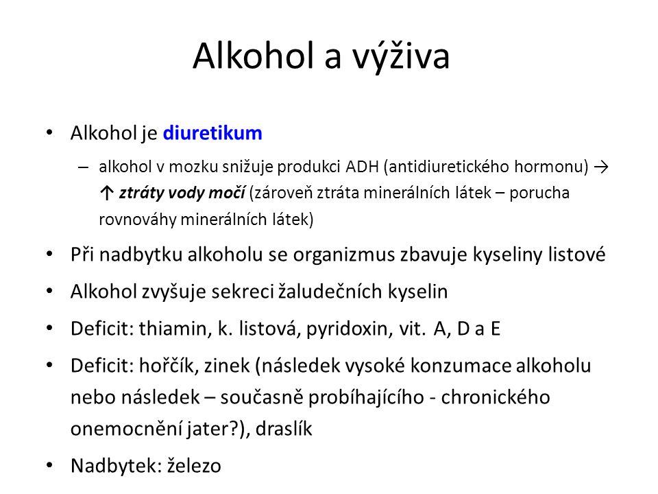 Alkohol a výživa Alkohol je diuretikum – alkohol v mozku snižuje produkci ADH (antidiuretického hormonu) → ↑ ztráty vody močí (zároveň ztráta minerálních látek – porucha rovnováhy minerálních látek) Při nadbytku alkoholu se organizmus zbavuje kyseliny listové Alkohol zvyšuje sekreci žaludečních kyselin Deficit: thiamin, k.