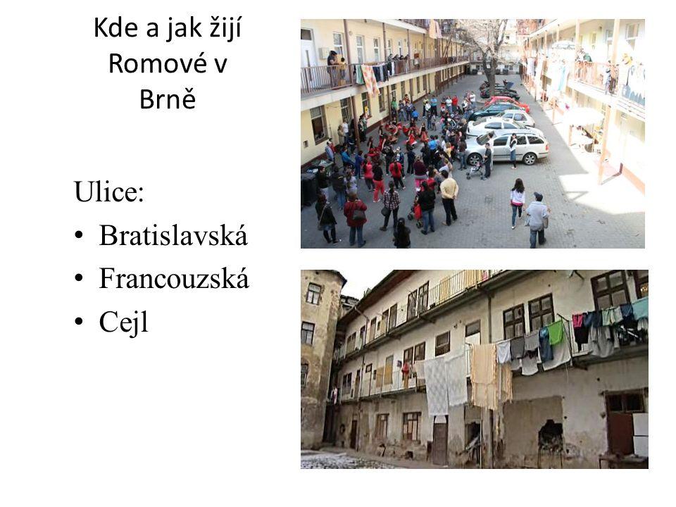 Kde a jak žijí Romové v Brně Ulice: Bratislavská Francouzská Cejl