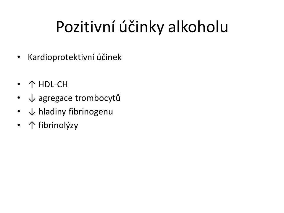 Pozitivní účinky alkoholu Kardioprotektivní účinek ↑ HDL-CH ↓ agregace trombocytů ↓ hladiny fibrinogenu ↑ fibrinolýzy