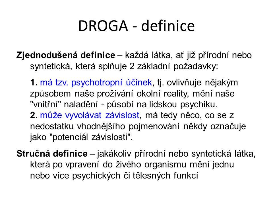 DROGA - definice Zjednodušená definice – každá látka, ať již přírodní nebo syntetická, která splňuje 2 základní požadavky: 1.
