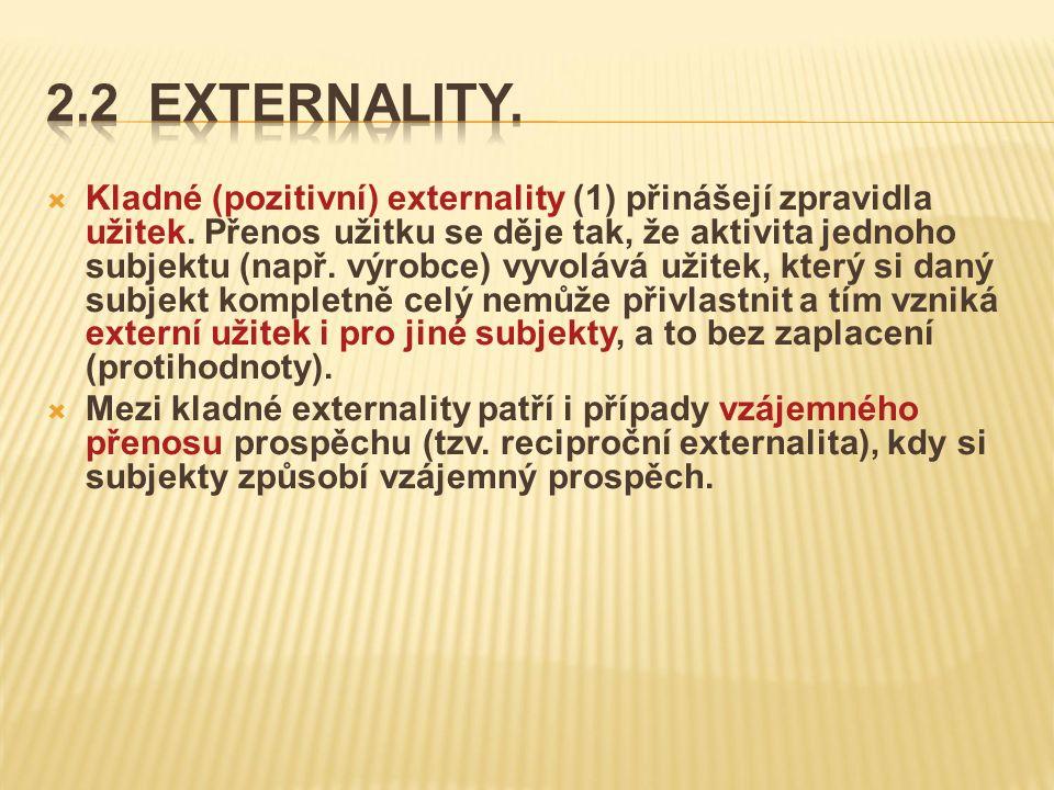  Kladné (pozitivní) externality (1) přinášejí zpravidla užitek.