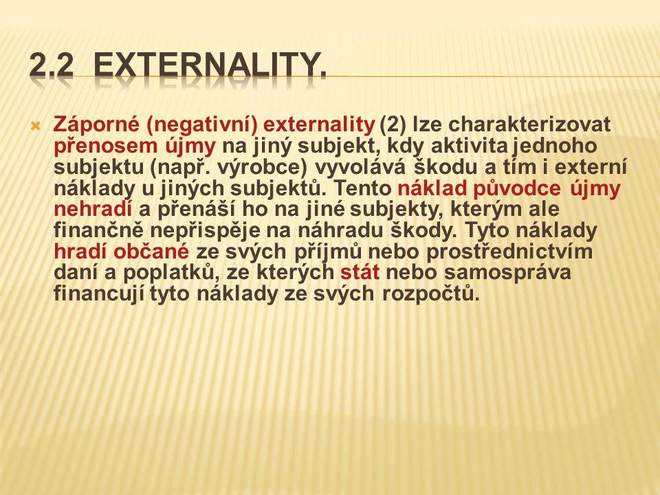  Záporné (negativní) externality (2) lze charakterizovat přenosem újmy na jiný subjekt, kdy aktivita jednoho subjektu (např.