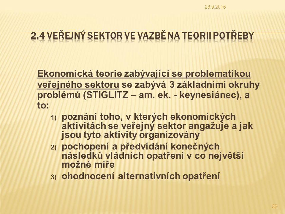 Ekonomická teorie zabývající se problematikou veřejného sektoru se zabývá 3 základními okruhy problémů (STIGLITZ – am.