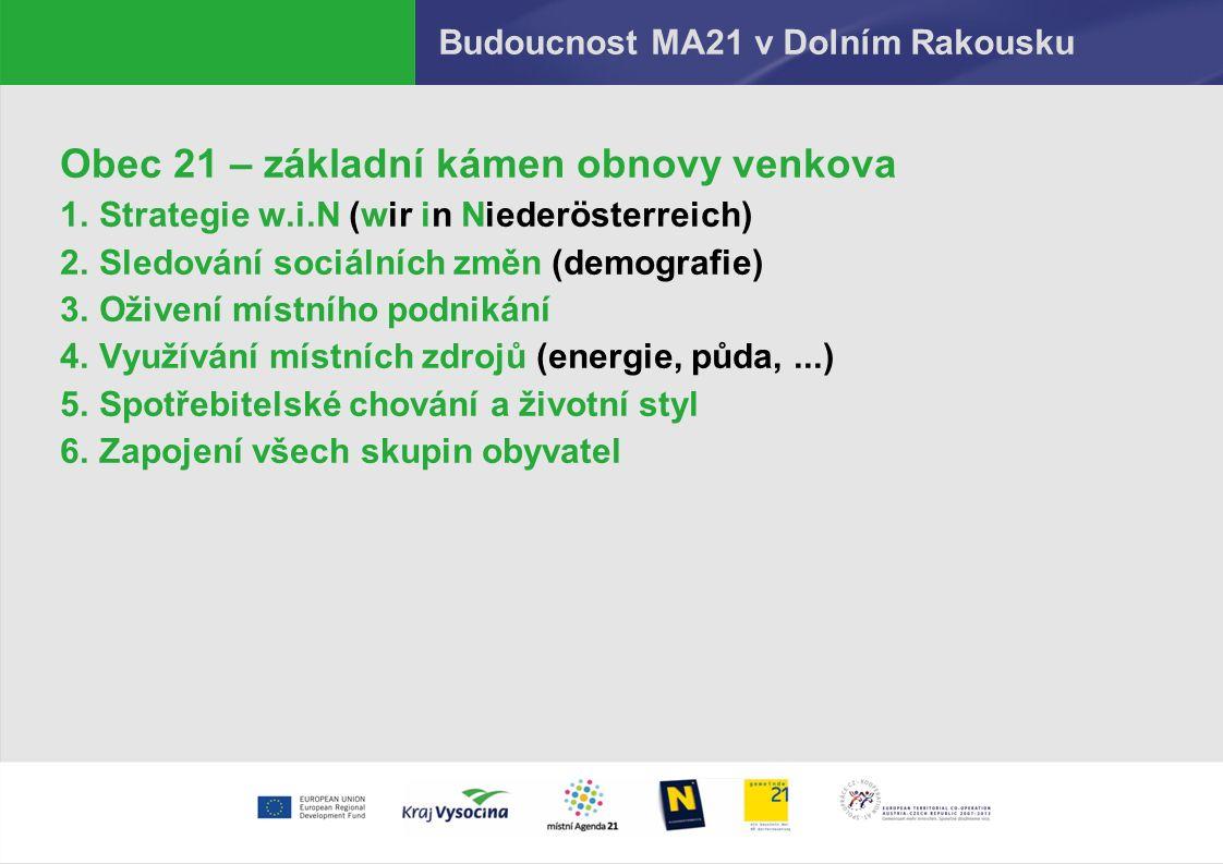 Budoucnost MA21 v Dolním Rakousku Obec 21 – základní kámen obnovy venkova 1.