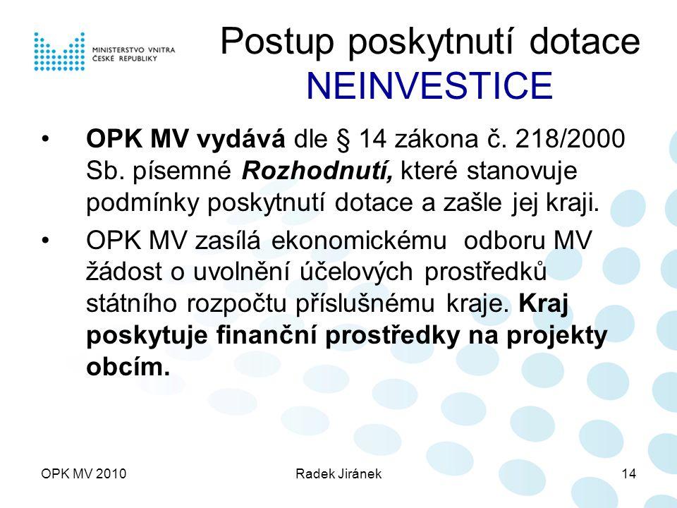 OPK MV 2010Radek Jiránek14 Postup poskytnutí dotace NEINVESTICE OPK MV vydává dle § 14 zákona č.
