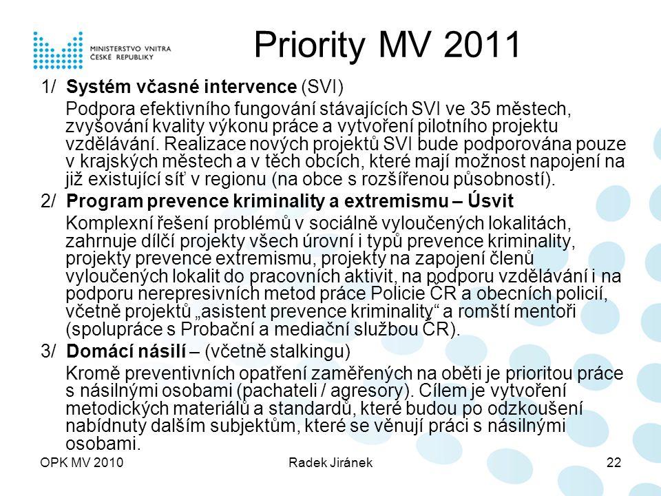 OPK MV 2010Radek Jiránek22 Priority MV 2011 1/ Systém včasné intervence (SVI) Podpora efektivního fungování stávajících SVI ve 35 městech, zvyšování kvality výkonu práce a vytvoření pilotního projektu vzdělávání.
