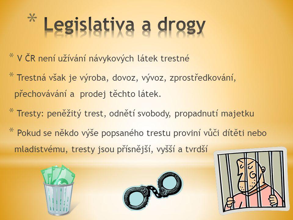 * V ČR není užívání návykových látek trestné * Trestná však je výroba, dovoz, vývoz, zprostředkování, přechovávání a prodej těchto látek. * Tresty: pe