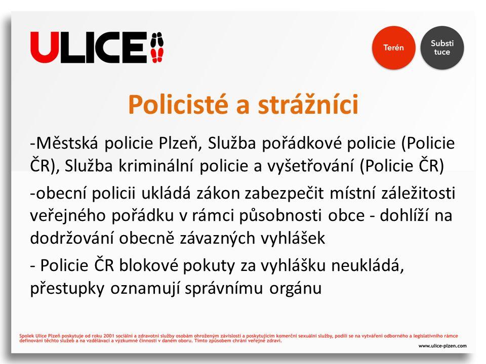 Policisté a strážníci -Městská policie Plzeň, Služba pořádkové policie (Policie ČR), Služba kriminální policie a vyšetřování (Policie ČR) -obecní policii ukládá zákon zabezpečit místní záležitosti veřejného pořádku v rámci působnosti obce - dohlíží na dodržování obecně závazných vyhlášek - Policie ČR blokové pokuty za vyhlášku neukládá, přestupky oznamují správnímu orgánu