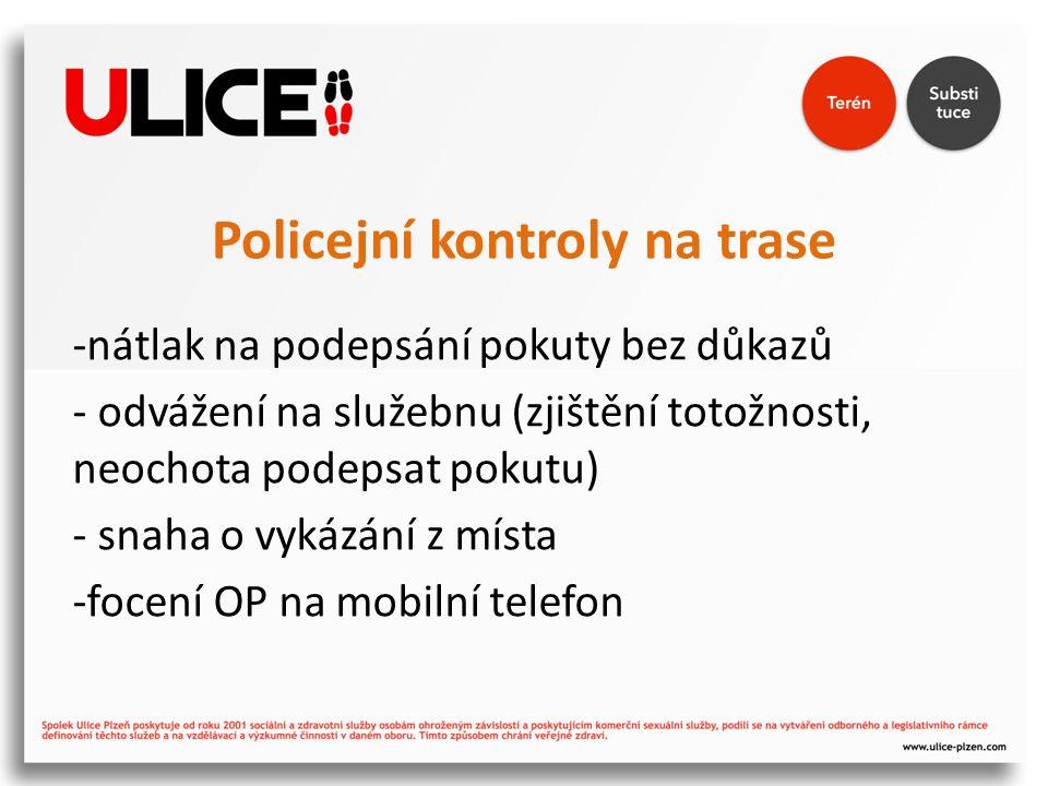 Policejní kontroly na trase -nátlak na podepsání pokuty bez důkazů - odvážení na služebnu (zjištění totožnosti, neochota podepsat pokutu) - snaha o vy
