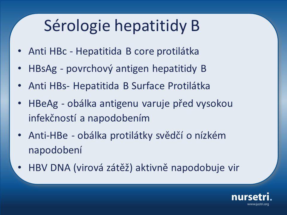 Sérologie hepatitidy B Anti HBc - Hepatitida B core protilátka HBsAg - povrchový antigen hepatitidy B Anti HBs- Hepatitida B Surface Protilátka HBeAg - obálka antigenu varuje před vysokou infekčností a napodobením Anti-HBe - obálka protilátky svědčí o nízkém napodobení HBV DNA (virová zátěž) aktivně napodobuje vir