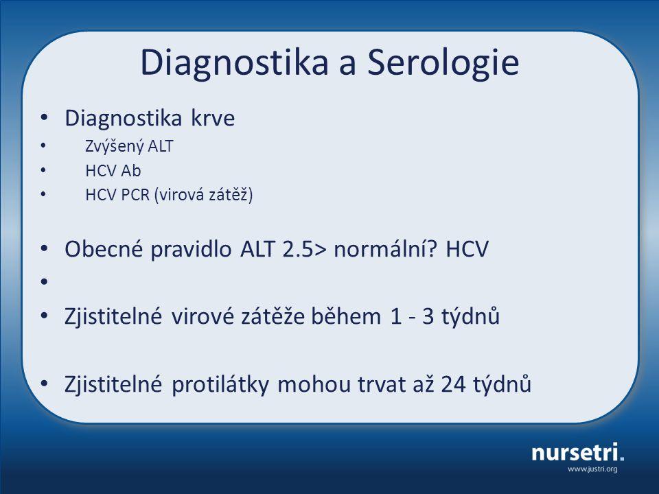 Diagnostika a Serologie Diagnostika krve Zvýšený ALT HCV Ab HCV PCR (virová zátěž) Obecné pravidlo ALT 2.5> normální.