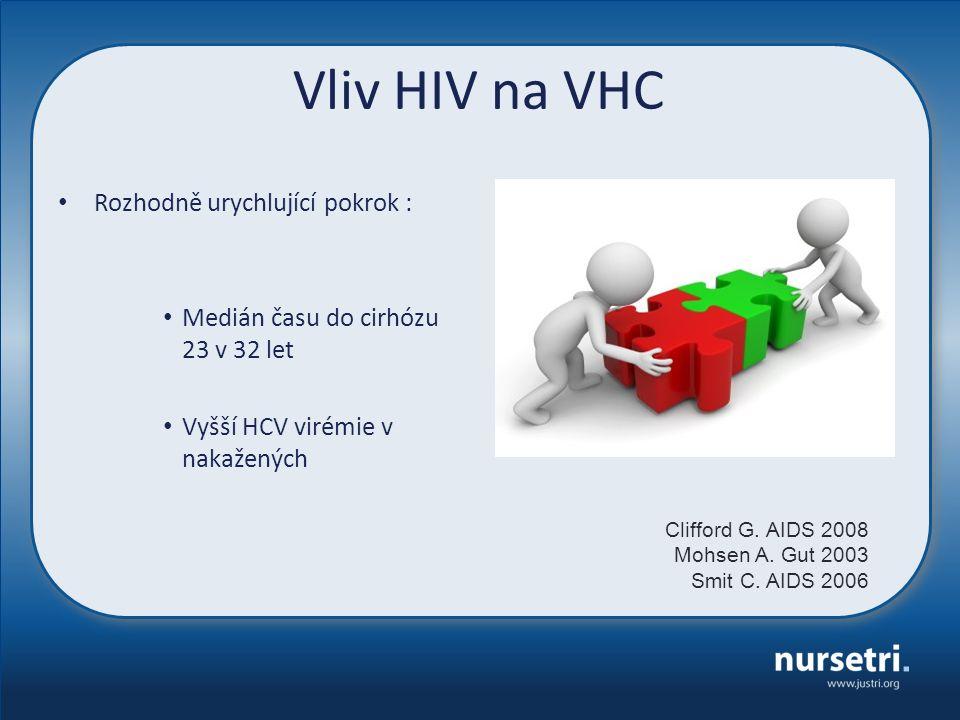 Vliv HIV na VHC Rozhodně urychlující pokrok : Medián času do cirhózu 23 v 32 let Vyšší HCV virémie v nakažených Clifford G. AIDS 2008 Mohsen A. Gut 20