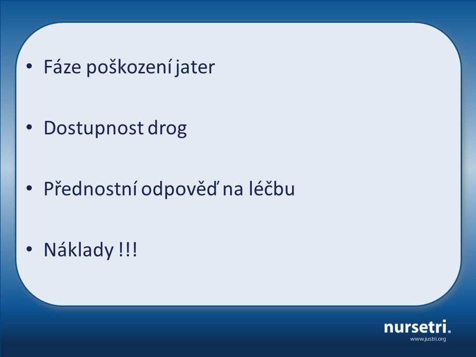 Fáze poškození jater Dostupnost drog Přednostní odpověď na léčbu Náklady !!!