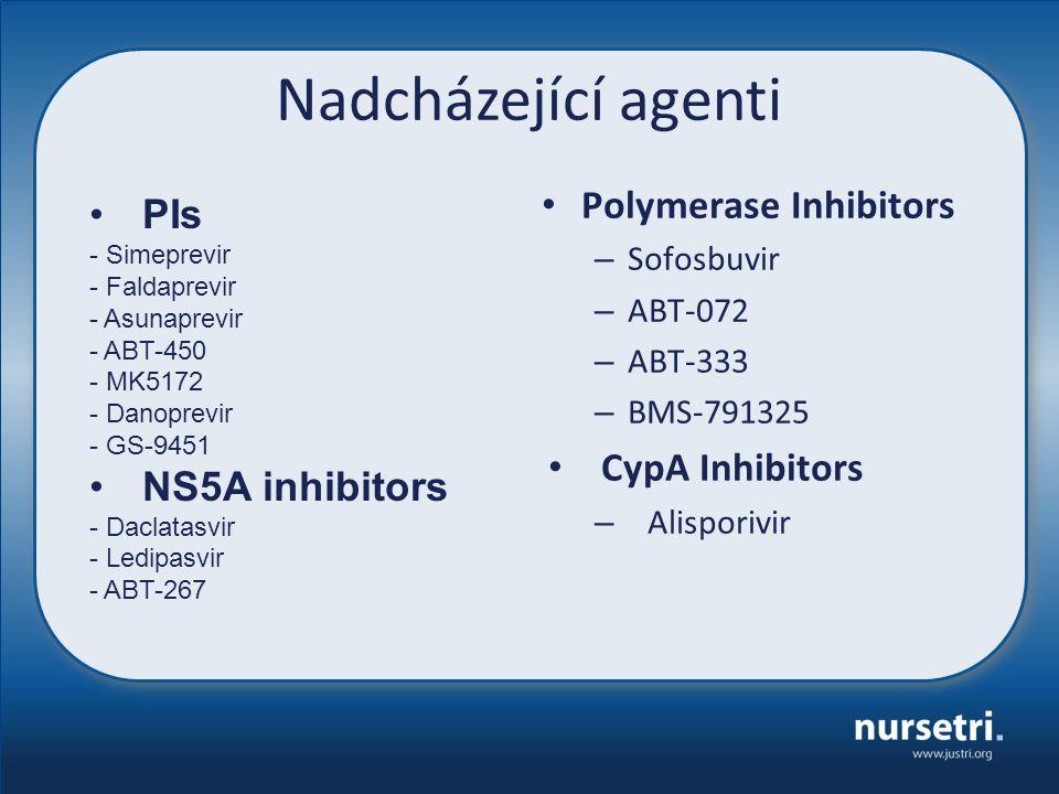 Nadcházející agenti Polymerase Inhibitors – Sofosbuvir – ABT-072 – ABT-333 – BMS-791325 CypA Inhibitors – Alisporivir PIs - Simeprevir - Faldaprevir -