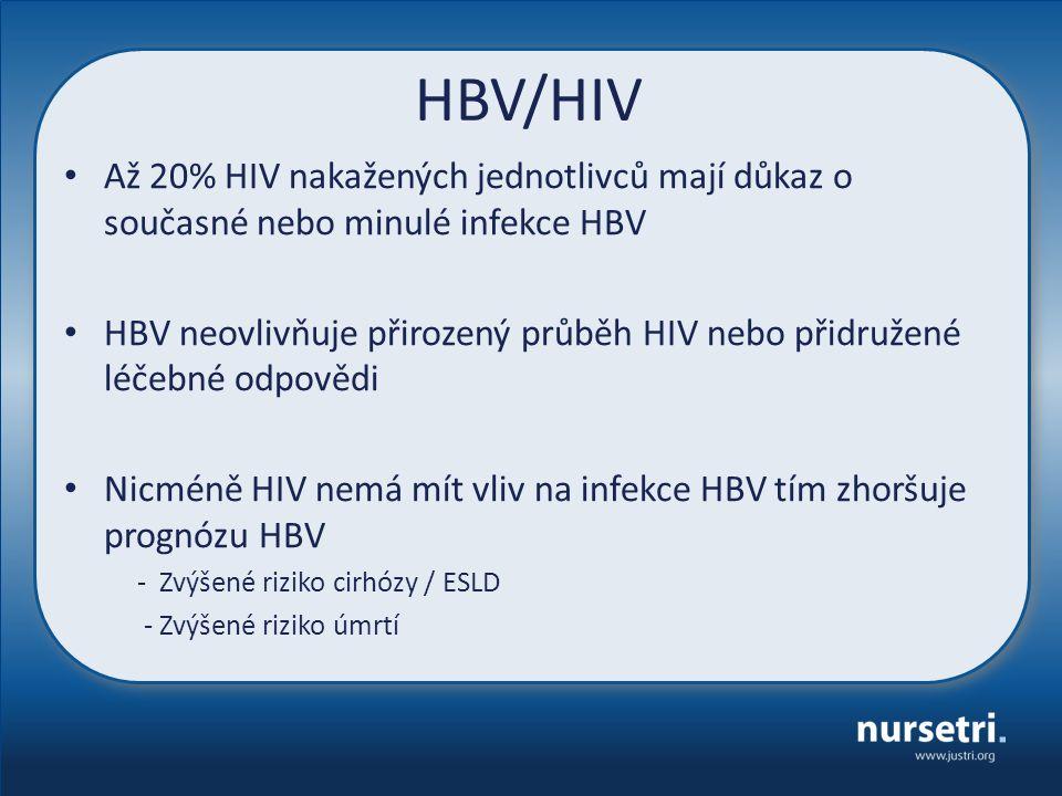 HBV/HIV Až 20% HIV nakažených jednotlivců mají důkaz o současné nebo minulé infekce HBV HBV neovlivňuje přirozený průběh HIV nebo přidružené léčebné odpovědi Nicméně HIV nemá mít vliv na infekce HBV tím zhoršuje prognózu HBV - Zvýšené riziko cirhózy / ESLD - Zvýšené riziko úmrtí