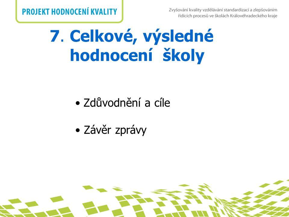 nadpis 7. Celkové, výsledné hodnocení školy Zdůvodnění a cíle Závěr zprávy