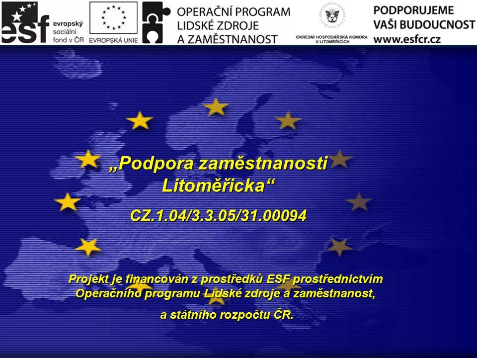 """""""Podpora zaměstnanosti Litoměřicka CZ.1.04/3.3.05/31.00094 Projekt je financován z prostředků ESF prostřednictvím Operačního programu Lidské zdroje a zaměstnanost, a státního rozpočtu ČR."""