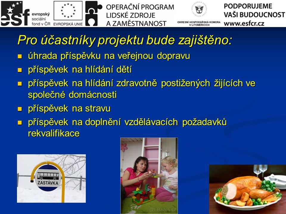 Pro účastníky projektu bude zajištěno: úhrada příspěvku na veřejnou dopravu úhrada příspěvku na veřejnou dopravu příspěvek na hlídání dětí příspěvek na hlídání dětí příspěvek na hlídání zdravotně postižených žijících ve společné domácnosti příspěvek na hlídání zdravotně postižených žijících ve společné domácnosti příspěvek na stravu příspěvek na stravu příspěvek na doplnění vzdělávacích požadavků rekvalifikace příspěvek na doplnění vzdělávacích požadavků rekvalifikace
