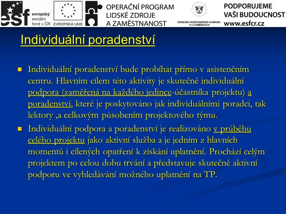 Individuální poradenství Individuální poradenství Individuální poradenství bude probíhat přímo v asistenčním centru.