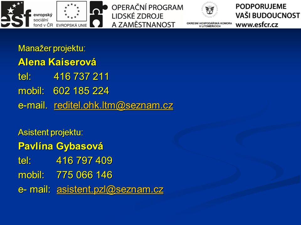 Manažer projektu: Alena Kaiserová tel: 416 737 211 mobil: 602 185 224 e-mail.