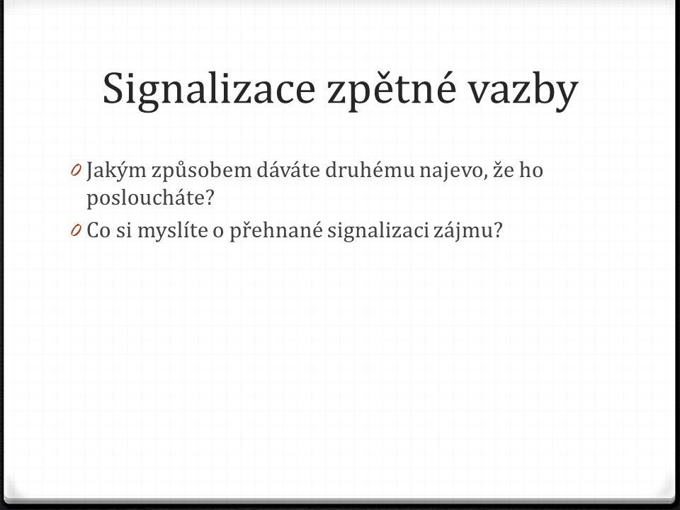 Signalizace zpětné vazby 0 Jakým způsobem dáváte druhému najevo, že ho posloucháte.