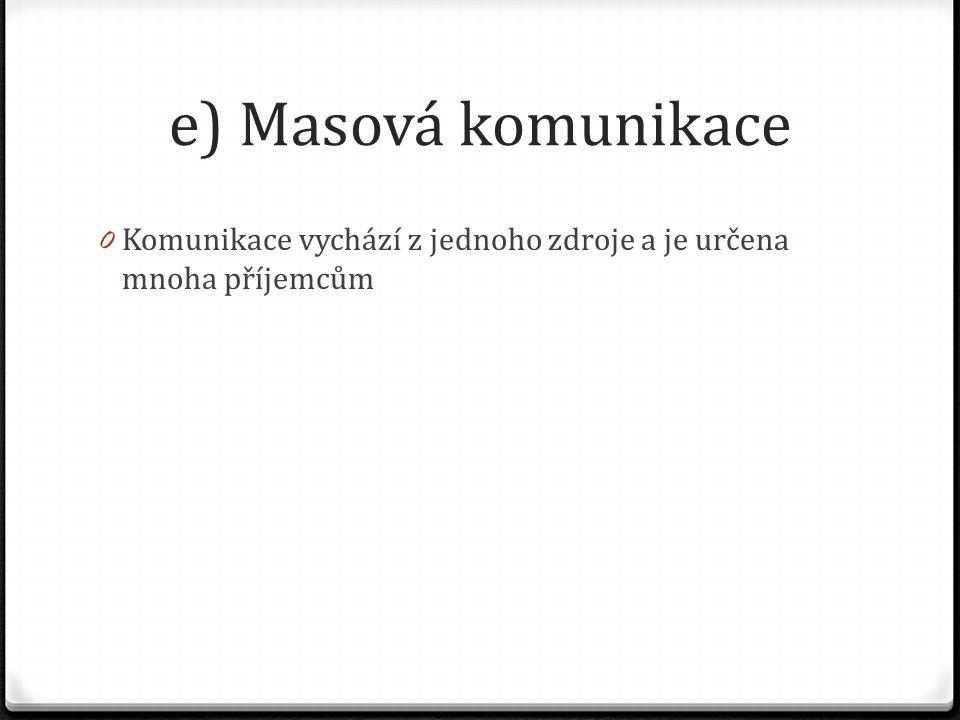 e) Masová komunikace 0 Komunikace vychází z jednoho zdroje a je určena mnoha příjemcům