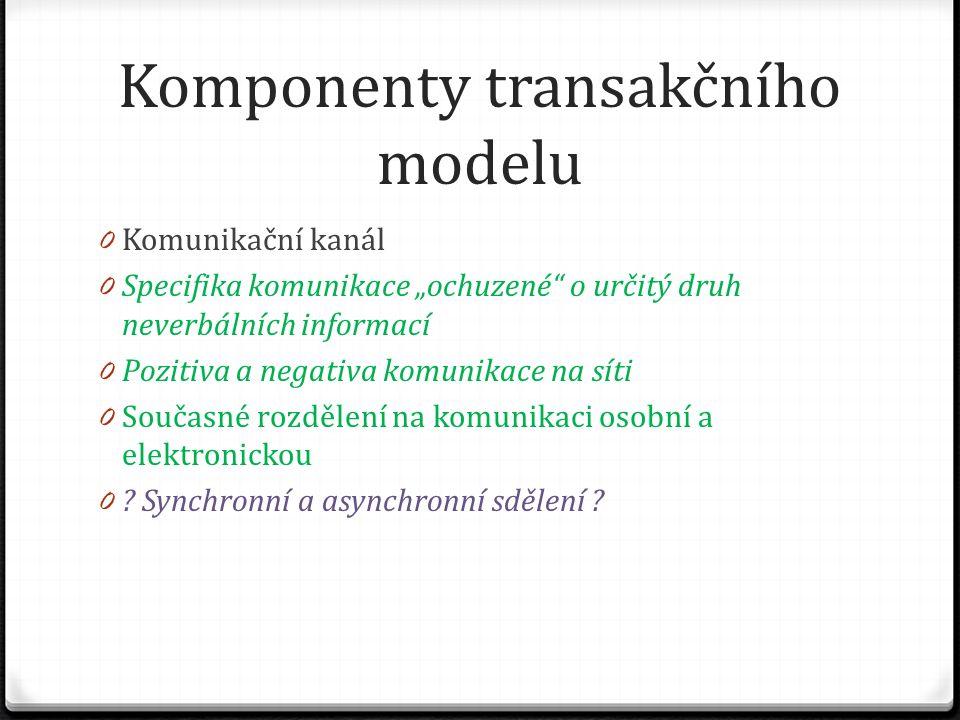 """Komponenty transakčního modelu 0 Komunikační kanál 0 Specifika komunikace """"ochuzené o určitý druh neverbálních informací 0 Pozitiva a negativa komunikace na síti 0 Současné rozdělení na komunikaci osobní a elektronickou 0 ."""