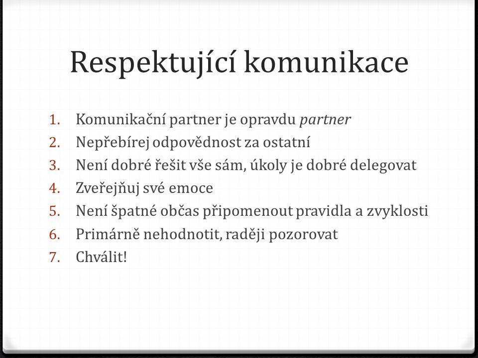 Respektující komunikace 1. Komunikační partner je opravdu partner 2.