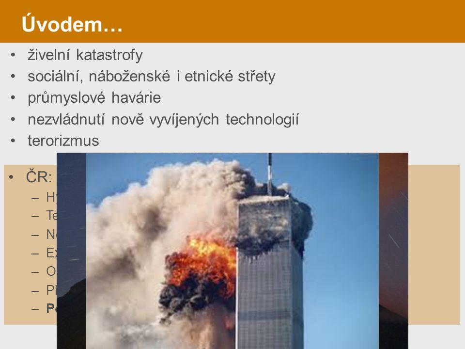 Úvodem… živelní katastrofy sociální, náboženské i etnické střety průmyslové havárie nezvládnutí nově vyvíjených technologií terorizmus ČR: specifické