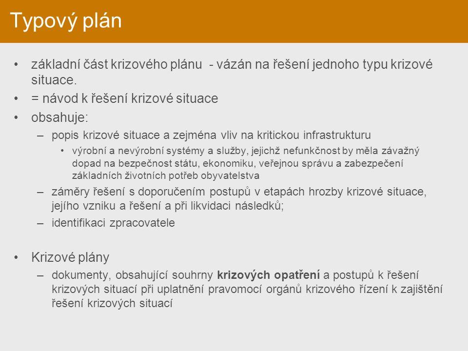 Typový plán základní část krizového plánu - vázán na řešení jednoho typu krizové situace. = návod k řešení krizové situace obsahuje: –popis krizové si