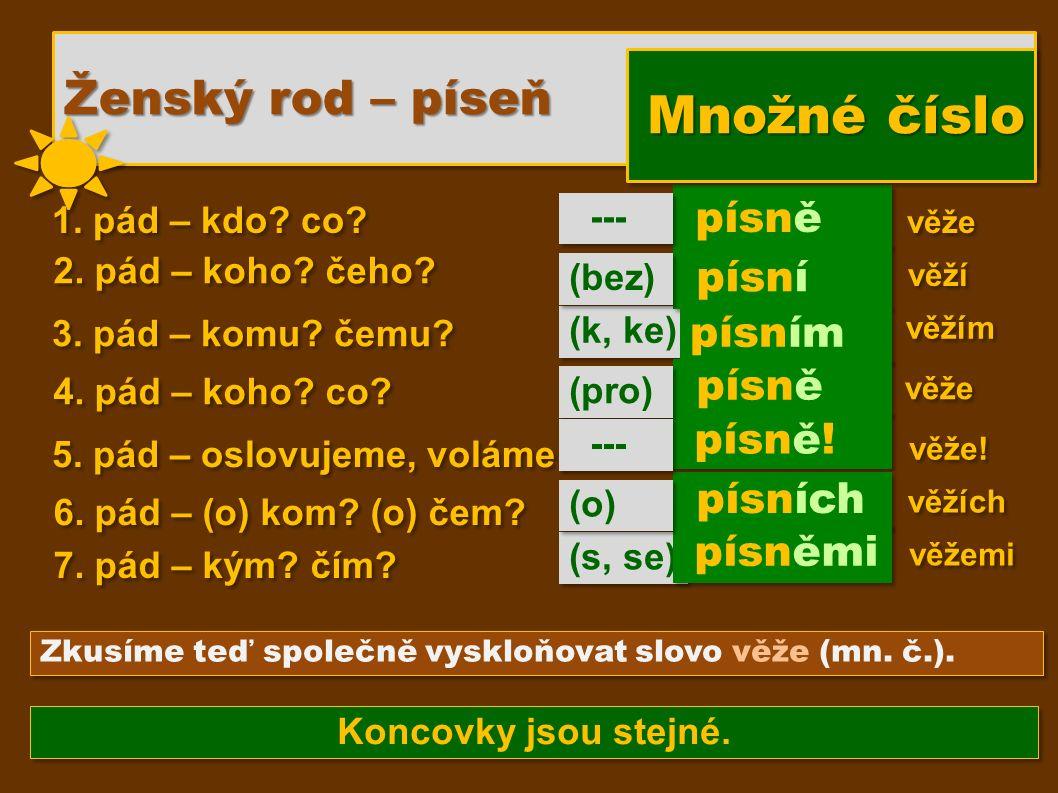 (s, se) (k, ke) písně písní Zkusíme teď společně vyskloňovat slovo věže (mn. č.). 1. pád – kdo? co? 2. pád – koho? čeho? 3. pád – komu? čemu? 4. pád –